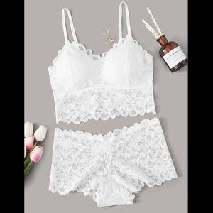 White, Elegant, Lace, Lingerie Set